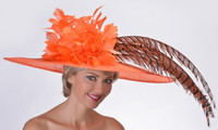 Gold Cup Derby Hat in Orange