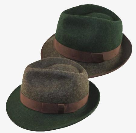 Brown & Green Two-Tone Wool Fedora