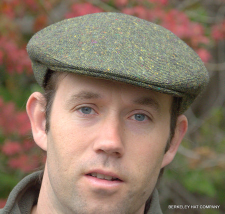 Green Donegal Tweed Irish Ivy Flat Cap