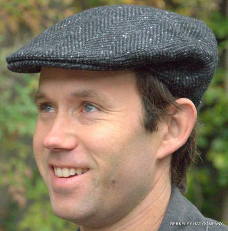 Irish Heavy Wool Herringbone Ivy Flat Cap, Gray