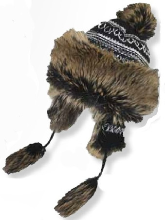 Women's Peruvian Style Knit/Furry Earflap Hat
