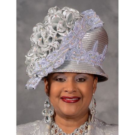 Silver Showpiece Church Hat by Eve Andrea bc86fc55063