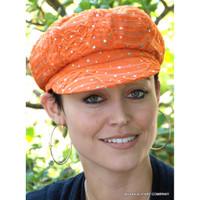 Women's Sequined Cabbie Cap in orange