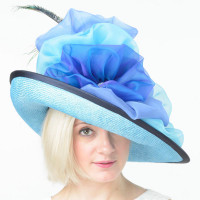 Edith, Aqua & Navy Derby Hat, Christine A. Moore