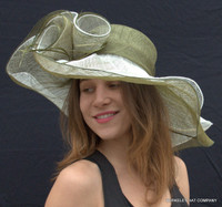 Olive and White Soft Straw Hat for the Kentucky Derby