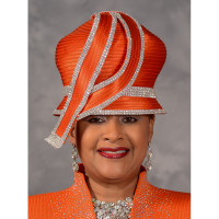 Orange Bubble Crown Church Hat by Scruples, Eve Andrea