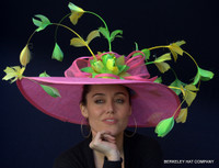 Feather Spray Pink Sinamay Derby Hat with Yellow and Green Feathers