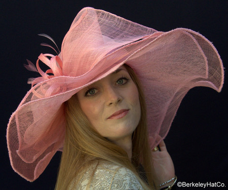 Pink Sinamay Large Brim Wedding Hat.