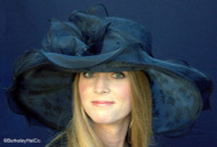 Black Romantic Lace and Organza Derby Hat