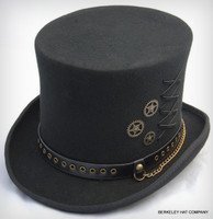 Steam Punk Black Wool Top Hat with Gear Charms