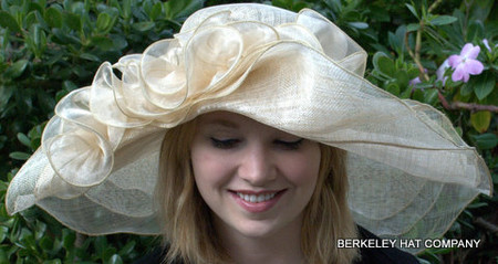 Wide Brim Natural Sinamay off-the-face Hat for the Derby