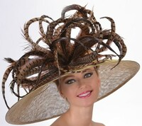 Off To The Races Derby Hat in Brown and Gold.