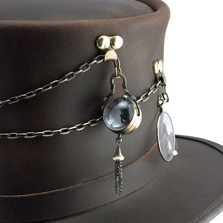 """Close-up of Steampunk Leather Top Hat, """"Trinket"""""""