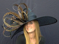#1 Winner's Circle Feathered Derby Hat in natural black.