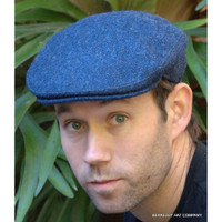 Herringbone Irish Wool Tweed Ivy Cap, Blue
