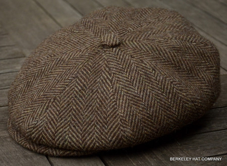 Irish Brown Herringbone Cabbie Cap