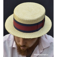 Rare Vintage Sennit Straw Boater Made in Japan.