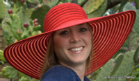 Red Big Brim Summer Hat, Ribbon.