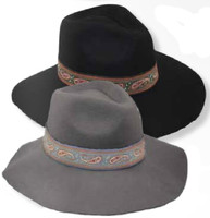 Women's Wide Brim Fedora Wool Felt, Paisley Band