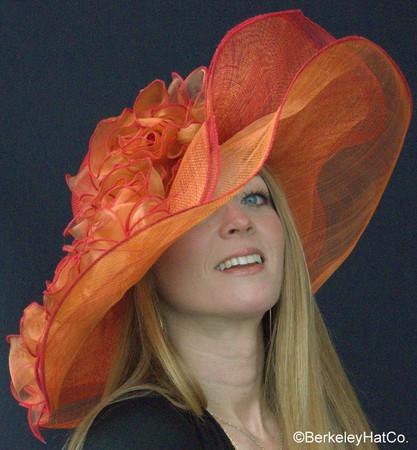 Red and Orange Derby Bridal Shower Hat.