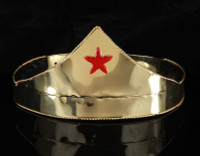 Super Hero Gold Crown and Cuffs with Red Star
