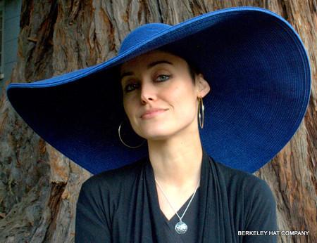 Big Brim Paper Braid Hat in Blue.