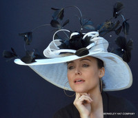 White and Black Rodeo Drive Hat for the Derby.