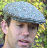 Harris Tweed Herringbone Ivy Cap in light brown