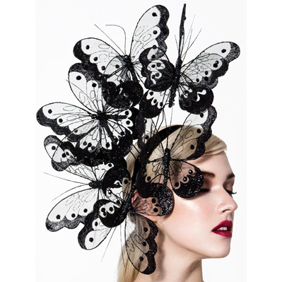 Hopi, Black Butterfly Fascinator by Arturo Rios
