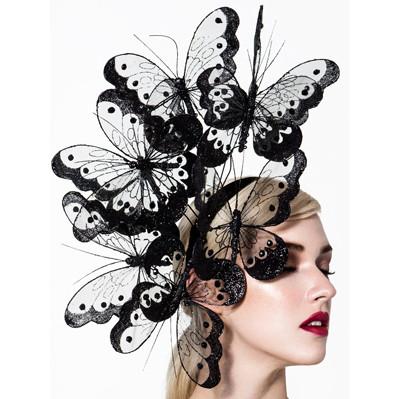 Hopi, Black Butterfly Fascinator by Arturo Rios