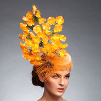 Audrey, Orange Fascinator by Arturo Rios