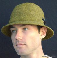 Irish Walking Hat Olive/Gold Donegal Tweed (IR09)