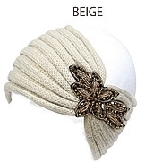 Womens Knit Headband With Beaded Flower