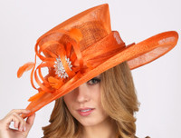 Grand Prix Derby Hat in Orange Sinamay.