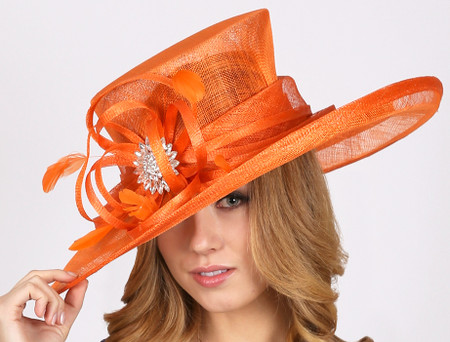 Grand Prix Derby Hat in Orange Sinamay.