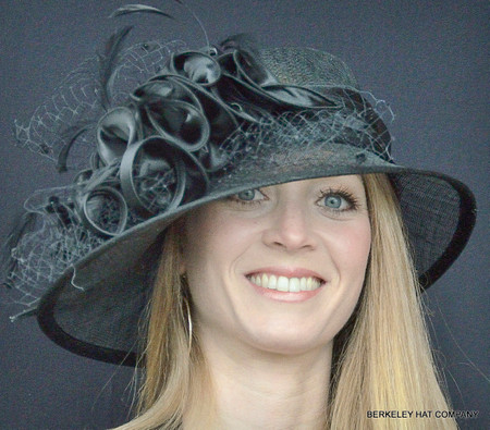Black Satin Ruffle Sinamay Hat for the Kentucky Derby.