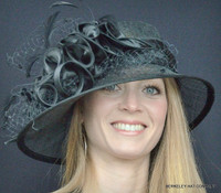 Satin Ruffle Sinamay Hat for the Kentucky Derby in Black.