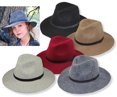 Wide Brim Women\u0027s Fedora in Wool Felt