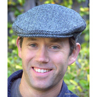 Harris Tweed Ivy Cap, Grey Herringbone  (IR15)