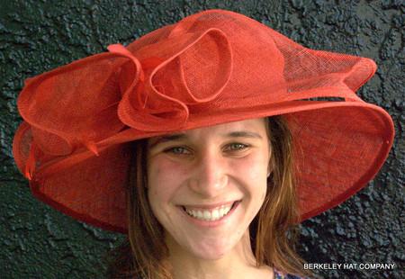 Red Ruffled Sinamay Kentucky Derby Hat.
