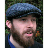 HARRIS TWEED IVY FLATCAP, BLUE HOUNDSTOOTH  (IR12)
