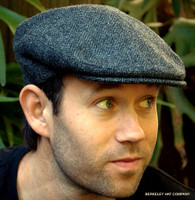 Herringbone Irish Wool Tweed Ivy Cap, Grey  (IR21)