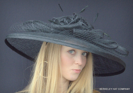 Spectacular Sinamay Straw Kentucky Derby Hat in Black.