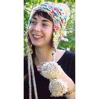 Multi-Color Knit Trapper Hat With Pom Poms
