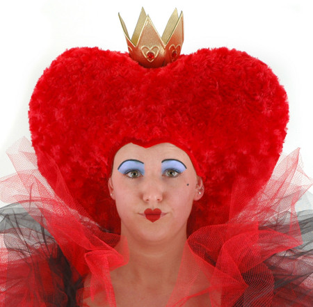 """Red swirly oversized heart  shaped """"hair"""" hat with gold crown"""