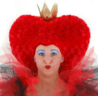 "Red swirly oversized heart  shaped ""hair"" hat with gold crown"