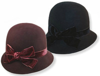 Wool Cloche with Velvet Bow color options