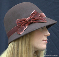 Wool Cloche with Velvet Bow side view