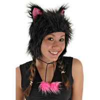 Furry cat ear cap with ear flaps in black