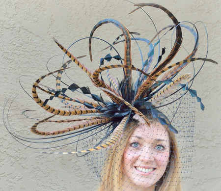 Extra Large Spiky Red Tipped Pheasant Feather Mount  for Hats Fascinators and Millinery FM051